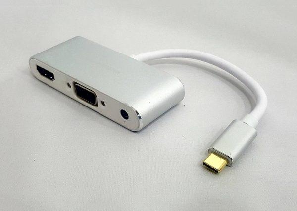 Cáp chuyển type C to HDMI + VGA + AUDIO + USB 2.0 KM KY-P002S